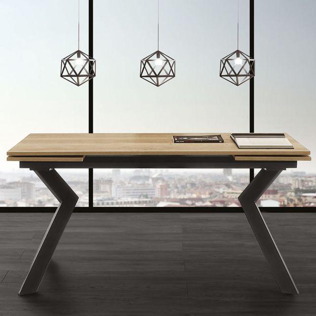 Nouvomeuble Table extensible couleur bois et noire moderne Esther