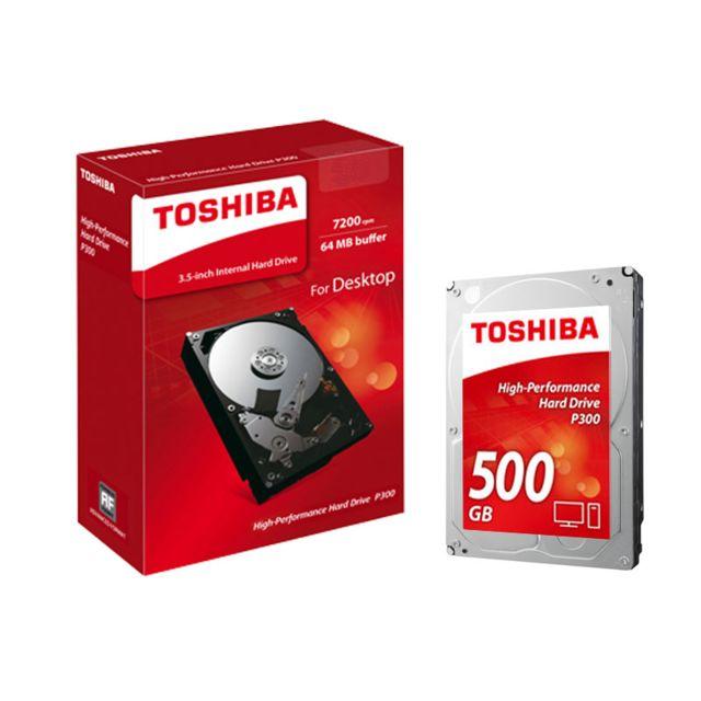 TOSHIBA P300 500 Go Le disque dur interne de 3,5 pouces P300 de Toshiba offre des performances élevées aux professionnels. Grâce à son double actionneur, vous pouvez compter sur un traitement informatique parfait et réactif. Qui plus est, vos données et f
