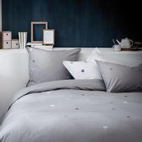 Matt&ROSE - Housse de couette 100% coton broderies étoiles contrastées Douce Nuit - Gris/blanc - 240x220cm