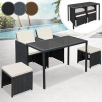 Miadomodo - Salon de jardin composé de 5 pièces en 3 couleurs : gris/ noir/ marron
