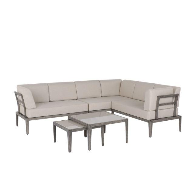 BELIANI Salon de jardin 6 places en aluminium taupe avec coussins beiges RIMA - blanc