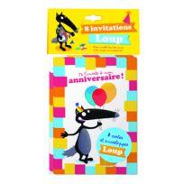 Editions Auzou - Pack 8 cartes d'invitation Loup : Je t'invite à mon anniversaire