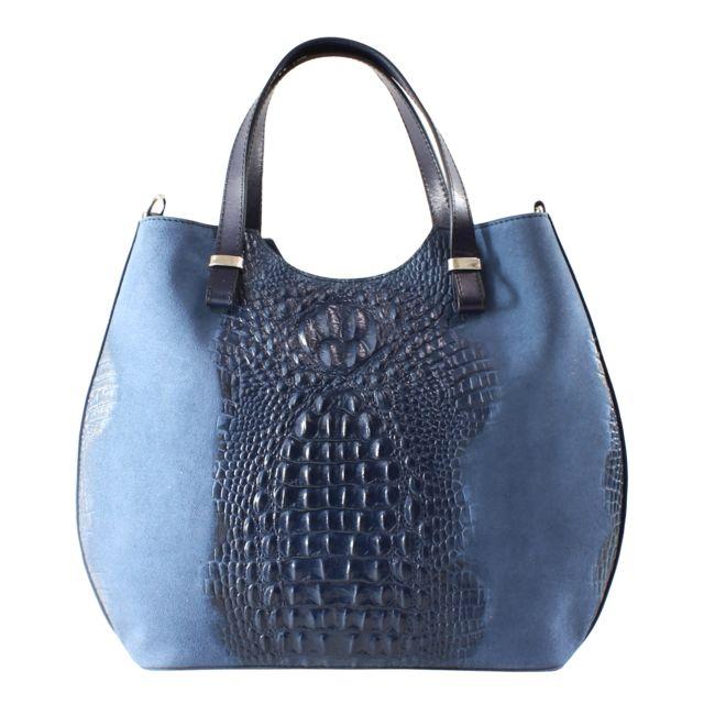 Oh My Bag - Sac à main femme en cuir véritable et daim façon croco ... 2181765fb1d4