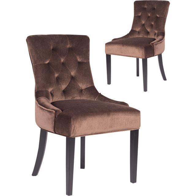 COMFORIUM Lot de 2 chaises marron contemporain en velours