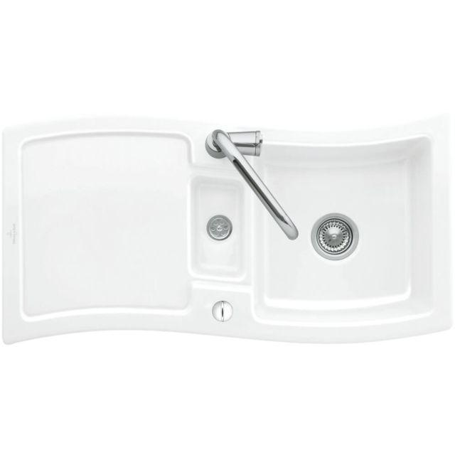 villeroy boch evier c ramique blanc new wave 1 bac 1 2 1 gouttoir pas cher achat. Black Bedroom Furniture Sets. Home Design Ideas