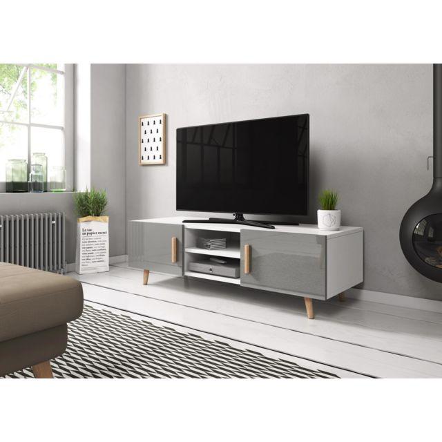 Meuble Tv Sweden 2 140 Cm Blanc Mat Gris Brillant Style Scandinave