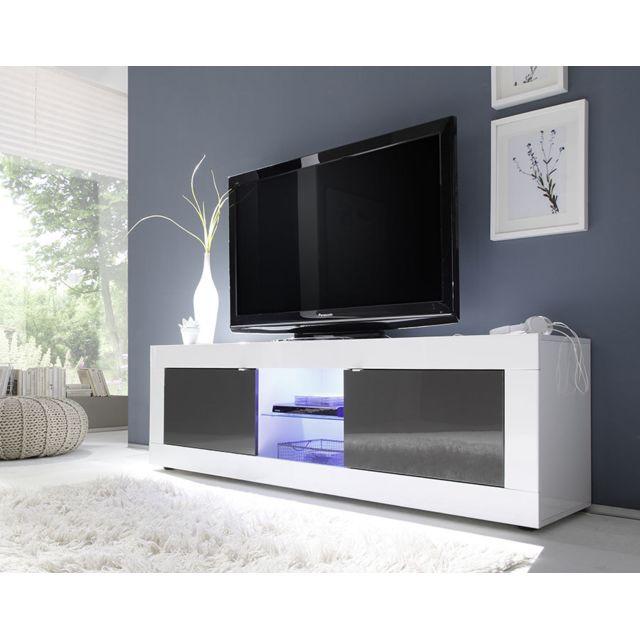 Kasalinea Meuble Tv blanc et gris laqué design Ariel 3 - L 181 cm