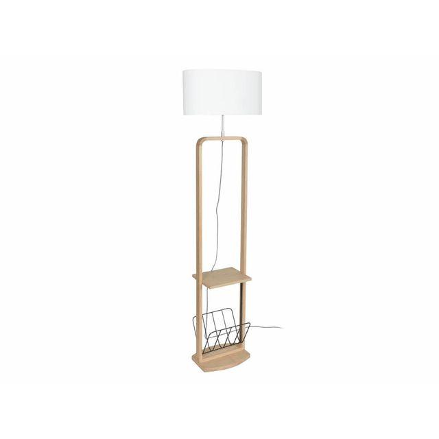 corep lampadaire avec tablette et porte revues en bois naturel et coton hauteur 169cm cosy. Black Bedroom Furniture Sets. Home Design Ideas