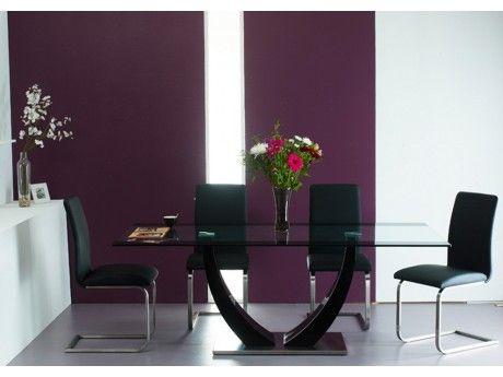 Vente-unique Table à manger Mezzo - 8 couverts - Mdf et verre trempé - Noir