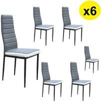 Import&DIFFUSION - Lot de 6 Chaises Coloris Blanc / Gris - Flash