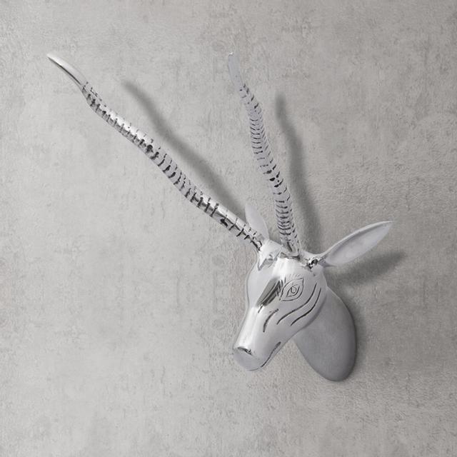 Rocambolesk Superbe Décoration murale sous forme de tête de cerf en aluminium Argent 36 cm neuf