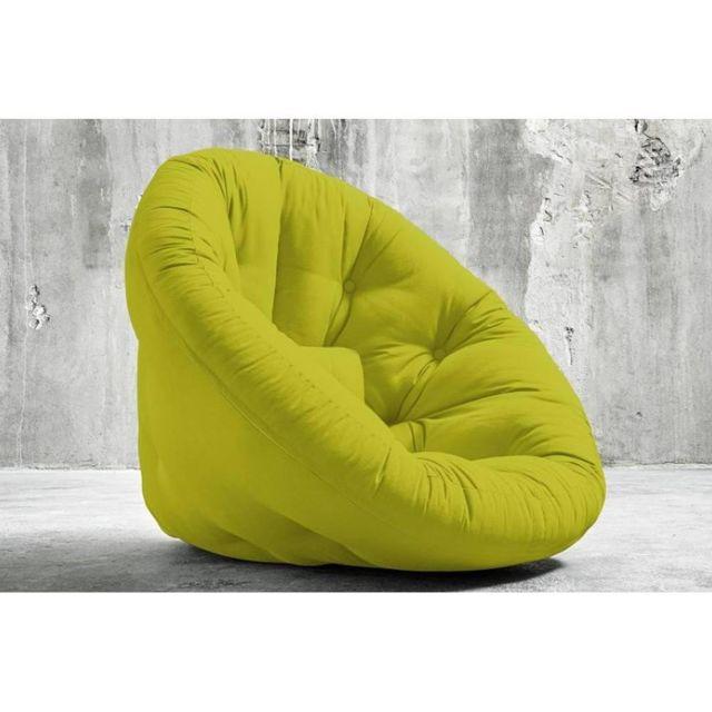 Inside 75 Fauteuil futon design Nido pistache couchage 90 180 14cm