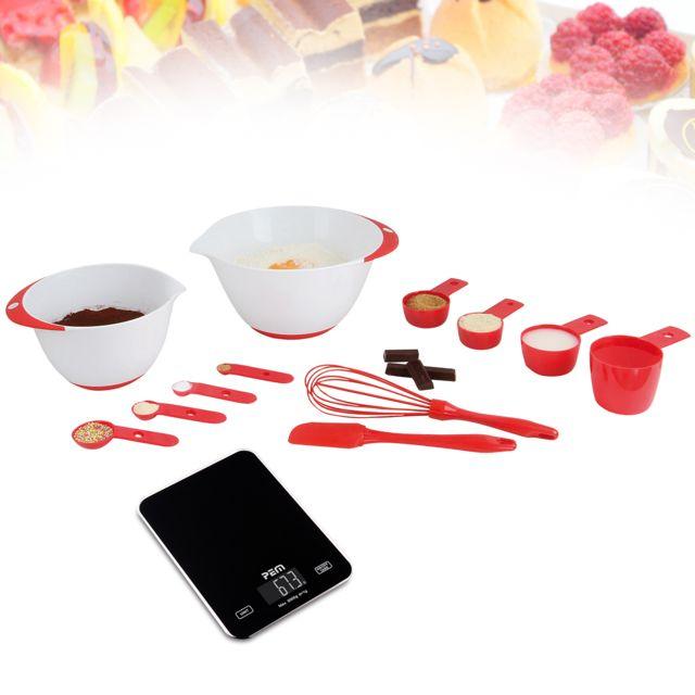 Pem Set 12 accessoires pâtisserie + Pèse aliment en verre