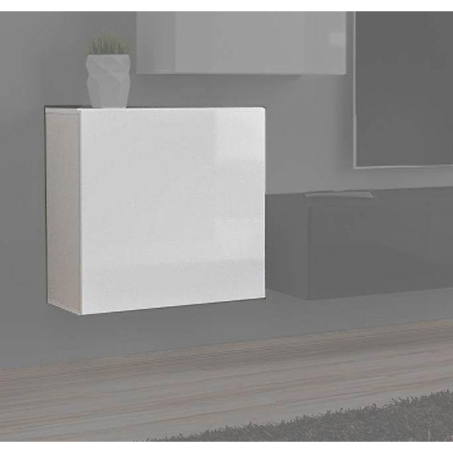 Design Ameublement Armoire mural modele Berit 60x60 couleur blanc