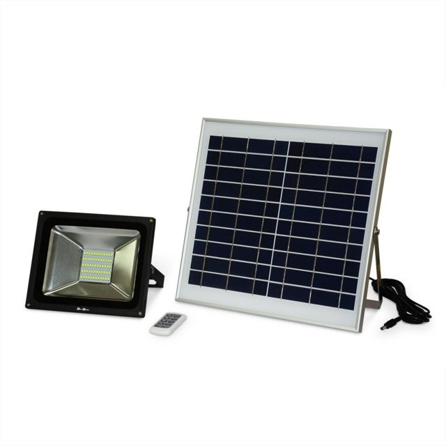 630a6edb60144 ALICE'S GARDEN - Projecteur LED 30W avec panneau solaire télécommandé blanc  froid, lampe résistante à