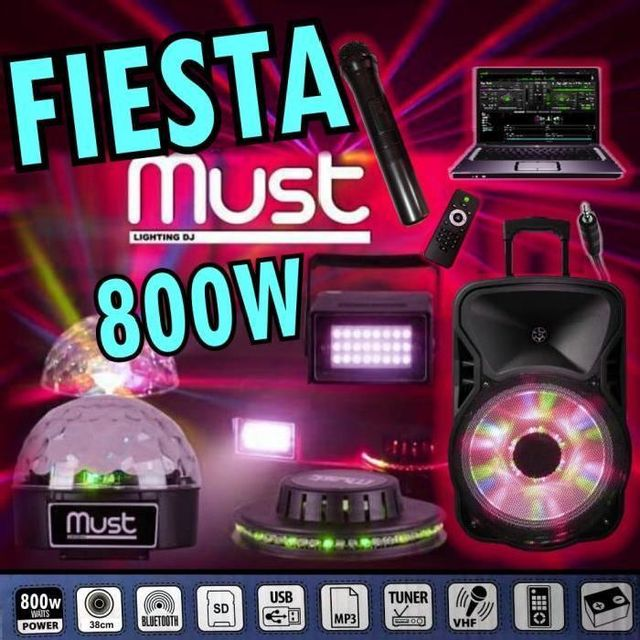 Ibiza Sound Pack 3 jeux de lumières - enceinte amplifiée 800w portable - usb mp3 - sd - bluetooth - tuner - 2 micros - câble pc pa