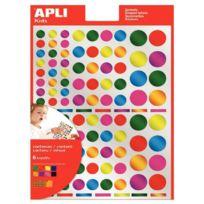 Apli - agipa - 13529 - gommette rond métallisé - couleurs assorties - pochette de 624