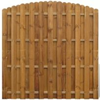 Panneau de clôture arqué en bois avec planches intercalées
