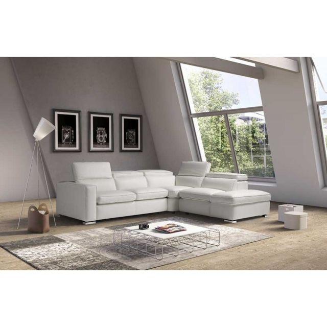 Meubles Europeens canapé d'angle cuir blanc