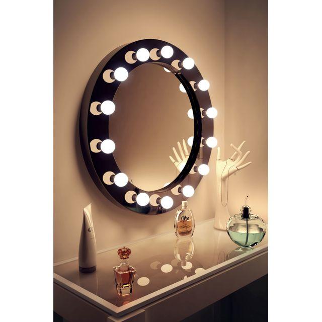 diamond x collection miroir de maquillage hollywood rond brillant noir lampes led blanc froid. Black Bedroom Furniture Sets. Home Design Ideas
