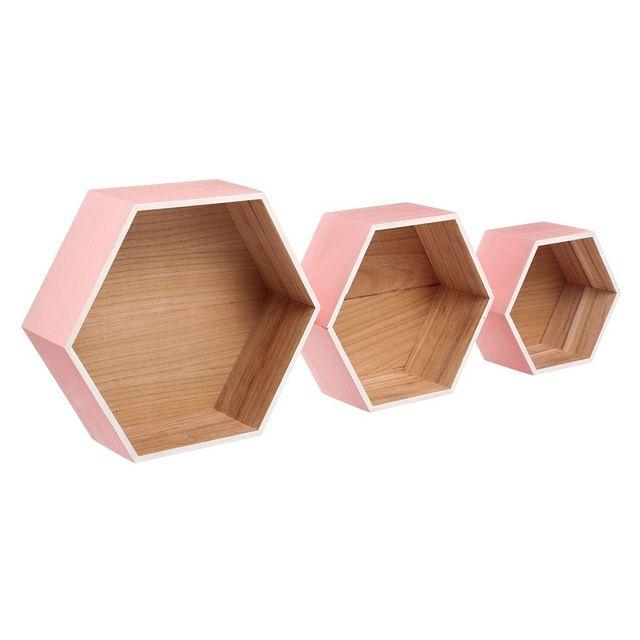 Atmosphera - Kit de trois étagères murales Lovely rose