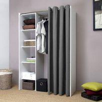 Symbiosis - Dressing extensible profondeur 50cm avec rideau coton - Blanc/gris - De 123 à 160 cm