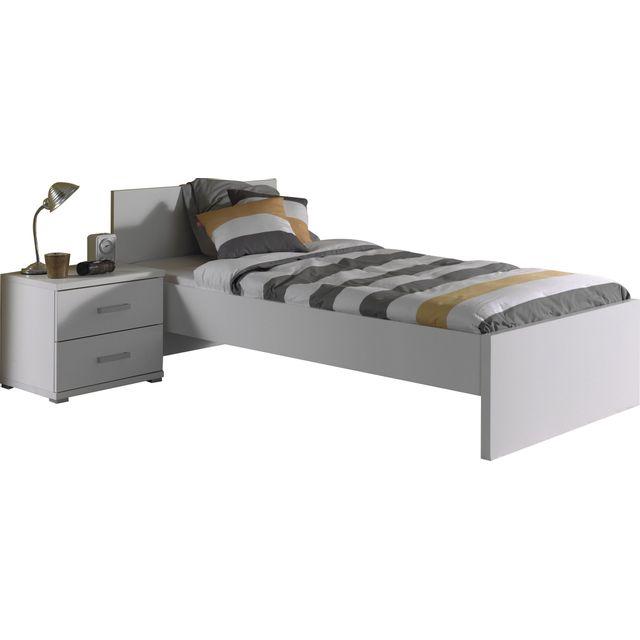 Comforium Ensemble lit 90x200cm avec chevet pour chambre à coucher moderne coloris blanc