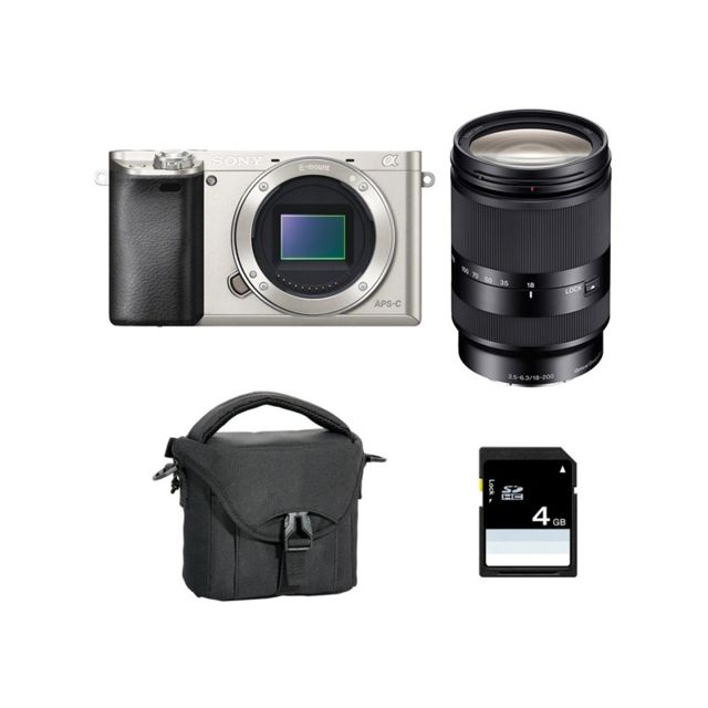 Sony Alpha 6000 Silver + 18-200mm Le f/3.5-6.3 Garanti 3 ans + Sac + Sd 4 Go