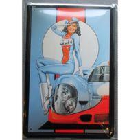 Universel - Plaque pin up gulf brune et auto tole 30x20 cm deco affiche pub garage