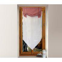 Soleil D'OCRE - Un store droit brise bise rideau voile vichy rouge 45 x 90 cm
