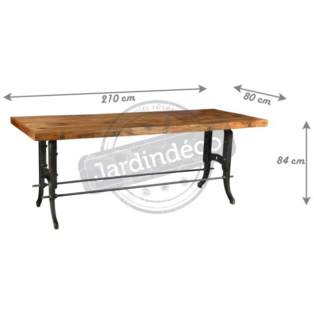 ANTIC LINE CREATIONS - Grande table de ferme métal et bois Multicolore - 210cm x 84cm x 80cm - Non extensible