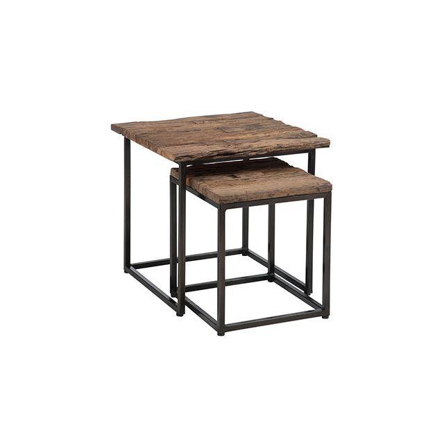 Set de 2 tables gigognes en métal et bois naturel