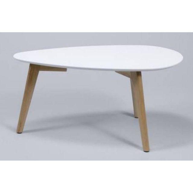 Inside 75 Table basse design Mignone blanche avec piétement en chêne massif style scandinave