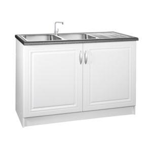meublesline meuble de cuisine bas 120 cm sous evier dina blanc avec moulures pas cher achat. Black Bedroom Furniture Sets. Home Design Ideas