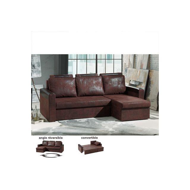 Canapé d'angle réversible convertible marron et noir Sami