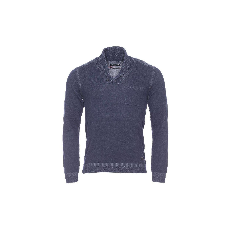 TEDDY SMITH- Pull col châle Pero bleu foncé chiné à poche - XL 08c295660cd