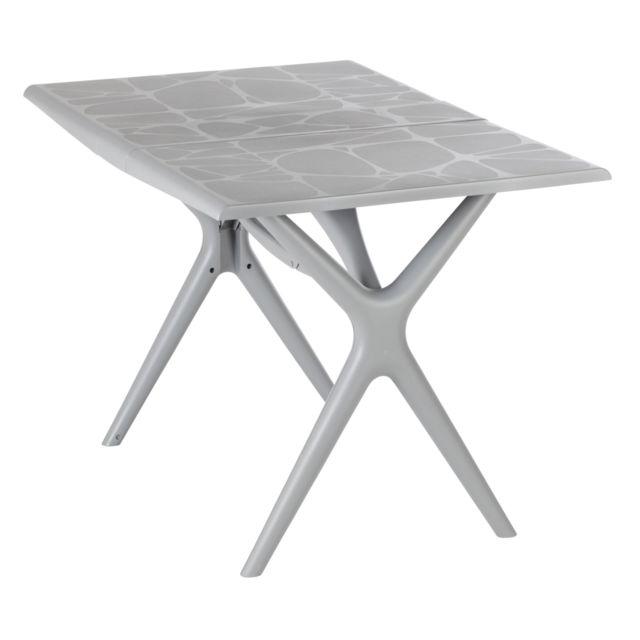 GrosFillex - Table de Jardin Sigma Pliante Gris Souris 115 x 75 cm ...