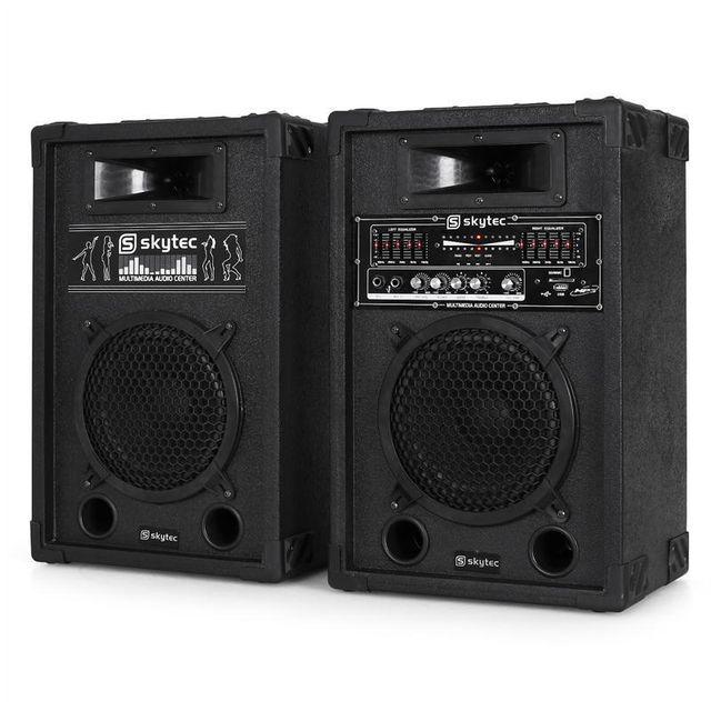 SKYTEC Set sono actif enceintes 2x 20cm 600W USB SD MP3