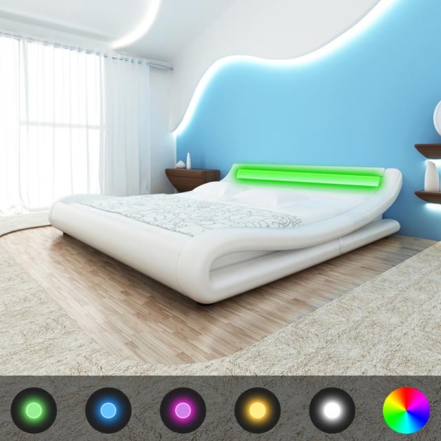 Vidaxl - Cadre de lit avec Led 140 x 200 cm Cuir artificiel Blanc