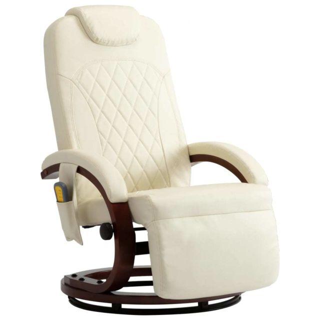 Icaverne Fauteuils électriques selection Fauteuil de massage TV Blanc crème Similicuir