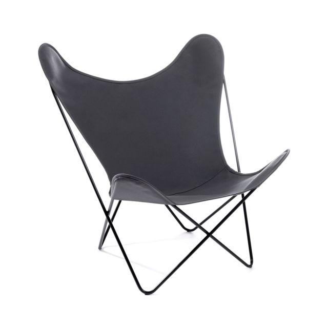MANUFAKTURPLUS Butterfly Chair Hardoy - acrylique - acier blanc - acrylique gris