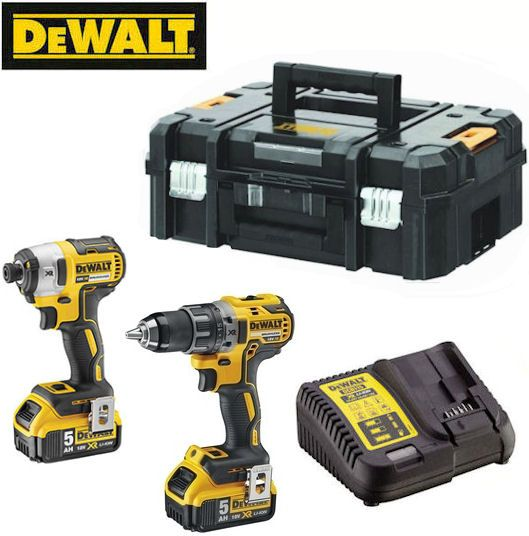 Dewalt - Kit 2 outils 18V 5Ah Li-Ion moteur sans charbon : Perceuse -visseuse COMPACT DCD791, + Visseuse à chocs DCF887, DCK268P2T
