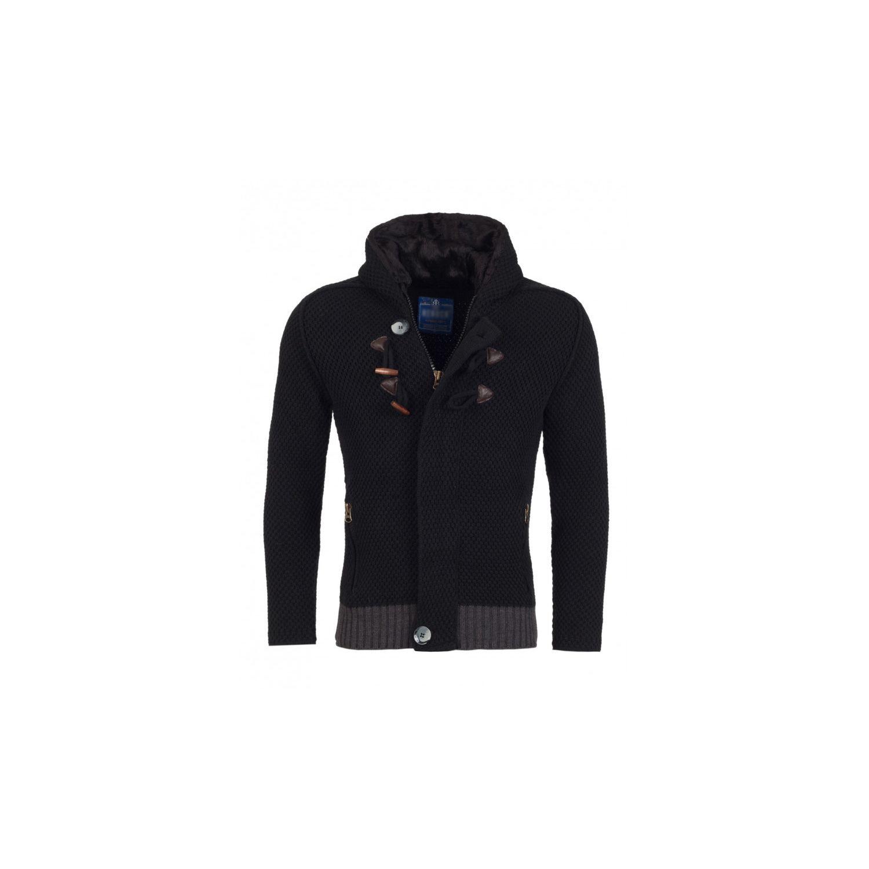 fec855caefc73 BESTSTYLE- Gilet en laine a capuche homme noir pas cher tendance