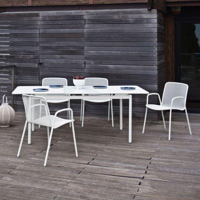 Oasi by Emu - Salon de jardin Acier avec table extensible ...