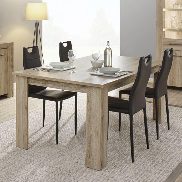 Nouvomeuble Table à manger contemporaine couleur bois clair Alena