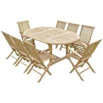 Teck'LINE - Ensemble de jardin en teck premium Sawah 6 chaises 2 fauteuils Jenae