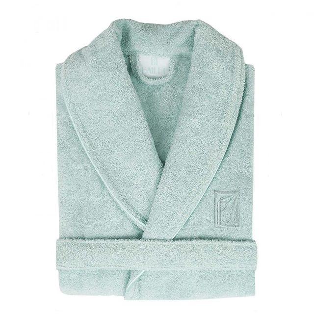 Peignoir Femme Uni Vert Deau Coton Peigné 100