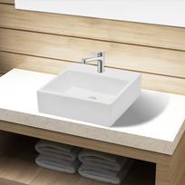 Vidaxl - Vasque carré à trou pour robinet céramique blanc salle de bain