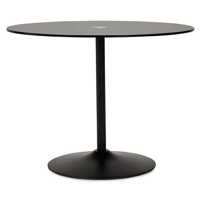 Alterego Table à dîner ronde 'TROBO' noire en verre - Ø 100 cm