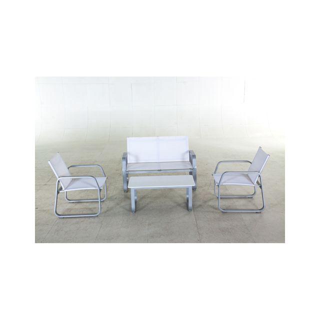 Hespéride - Salon de jardin Gili - 4 pièces - Blanc - pas ...